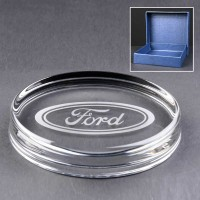 Oval Glass Paperweight In Blue Cardboard Box - £10.80 Including Engraving