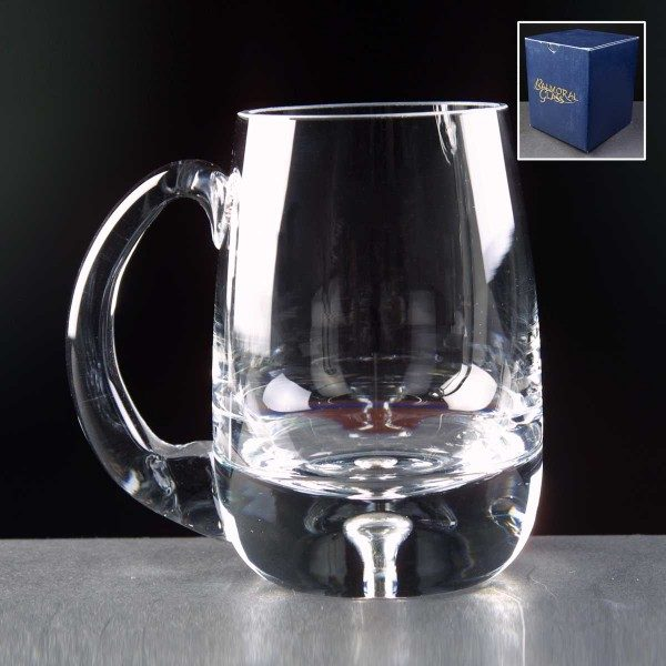 Balmoral Bubble Based Glass Tankard In Blue Cardboard Box - From £17.40 Including Engraving