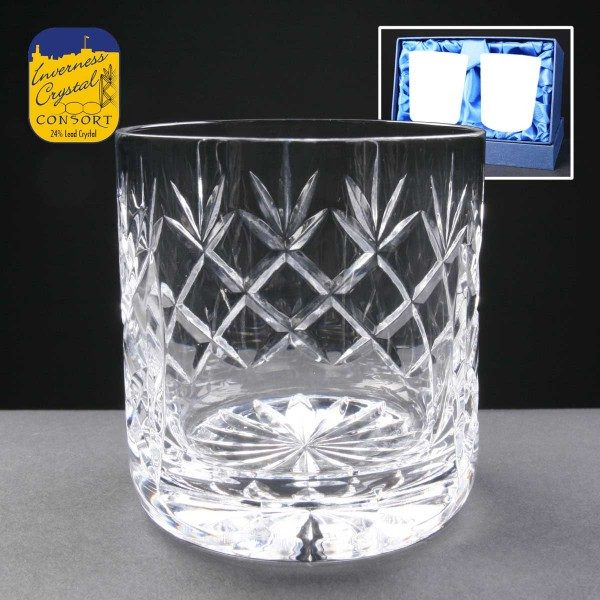 Earle Crystal Whisky Glasses x2 Supplied In Satin Lined Presentation Box - From £32.60
