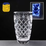 Earle Crystal Barrel Vase With Panel For Engraving In Presentation Box - From £61.75 Including Engraving
