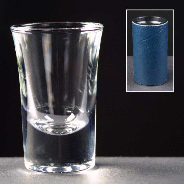 1oz Shot Glass Supplied In Blue Cardboard Tube - £7.00