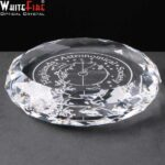 Whitefire Optical Crystal Round Paperweight In Velvet Lined Presentation Box - £21.35 Including Engraving