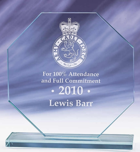 Hexagon Shaped Glass Award - From £15.25 Including Engraving